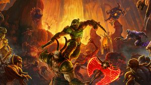 Key art from Doom Eternal, showing various enemy types and the Doom Slayer.
