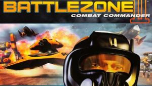 Battlezone 2 combat commander box cover showing man with space helmet with exploding tank in background