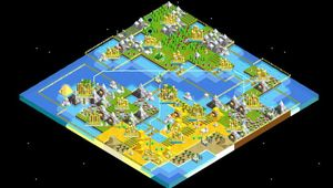Isometric view of a world map from The Battle of Polytopia