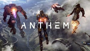 Anthem logo overlaid across three freelancers in their exosuits