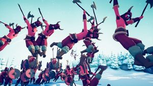 Totally Accurate Battle Simulator screenshot of viking stickfigures flying through the air with axes