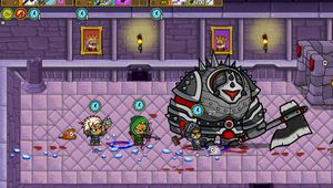 Three players are attacking a boss in Son of a Witch.