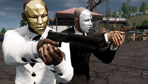Picture of two weirdos with masks holding suppressed pistols