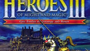 cover image of heroes of might and magic 3 showing knight with army stroming a castle