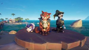 sea of thieves screenshot showing three cats in pirate suits