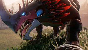 A behemoth from Dauntless in a field