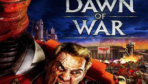 original dawn of war box art showing blood raven space marine showting below the game's title