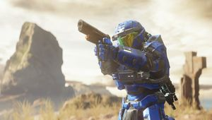 A member of the blue team in Halo 5: Guardians multiplayer.