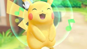 Screenshot of Pikachu listening to music in Pokemon: Let's Go, Pikachu!