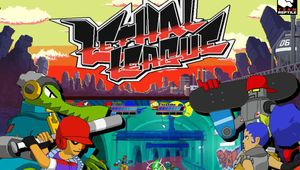 Splash art for Lethal League showing the name, a map and some characters