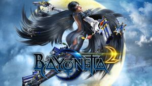 Bayonetta 2 logo with Bayonetta herself flying behind it, with guns in her hands