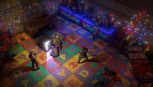Desert Rangers in a colourful room in Wasteland 3