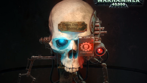 A picture of the skull of Magos Dominus Reditus heavily modified with bionic enhancements.