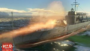 A ship is cruising on water in War Thunder Naval Forces.