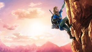Link rock climbing in The Legend of Zelda: Breath of the Wild