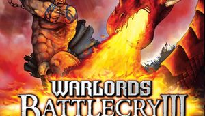 warlords battlecry 3 snippet of box cover showing game title and barbarian fighting a dragon