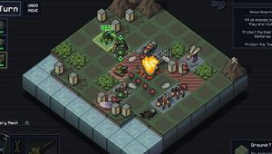 Screenshot from Into the Breach showing turn based Mechs vs Aliens combat.