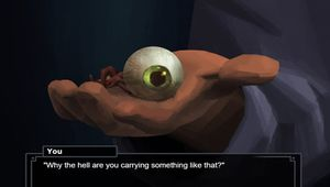 A digital painting of a hand holding a human eye