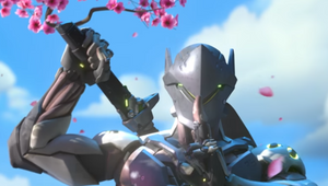 Genji in Hanamura, surrounded by cherry tree blossom petals, reaching for his sword and making the shush sign