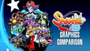 Promo art for Shantae: Half-Genie Hero showing the game's characters next to the game's title.