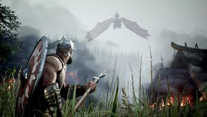 rune 2 screenshot showing a viking warrior bracing for dragon attack
