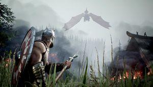 rune 2 screenshot showing a viking warrior bracing for dragon attack