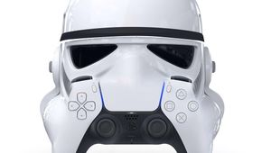 artwork showing ps 5 controller and stormtrooper