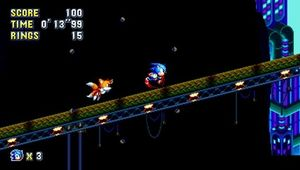 Game screenshot showing Sonic and Knuckles.