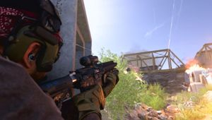 Call of Duty: Modern Warfare screenshot showing a soldier shooting his gun