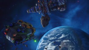 Earth surrounded with several large spaceships from Rebel Galaxy Outlaw