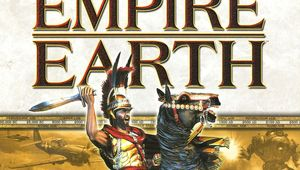 Cover image of empire earth box showing game logo and rider on horse