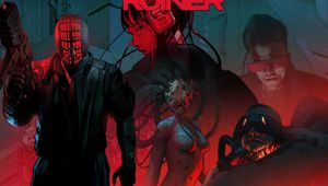 Poster for the cyberpunk game Ruiner in a red, black and grey-ish blue palette.