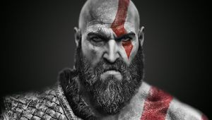 Kratos looking at the camera like it owes him a lot of money