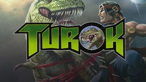 Turok game logo with the titular hero fighting a dinosaur in the background