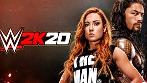 WWE 2K20 cover art featuring Roman Reigns and Becky Lynch