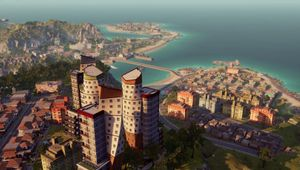 A view of an island city in Limbic Entertainment's sim game Tropico 6