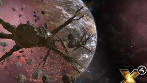 X4 foundations screenshot of treelike looking space station in flront of redish planet