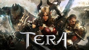 Horned anime waifu posing with some angry looking guys for a TERA promotional picture.