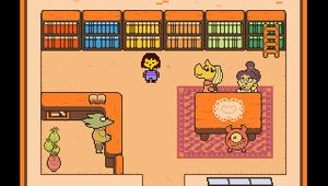 Picture of the protagonist of Undertale in a library