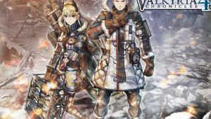 Anime dude and anime girl are standing in their coats on a snowy battlefield.