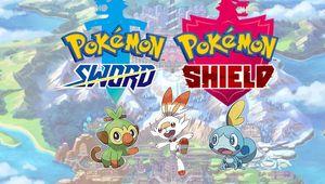 promo artwork showing pokemon sword and shield logos