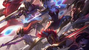 Splash art for the SKT T1 skins in League of Legends