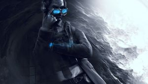 r6 siege artwork showing an operator with blue glasses