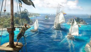 skulls and bones screenshot showing ships sailing around the islands