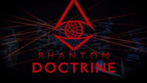 Promotional logo for Phantom Doctrine written in red on a black background