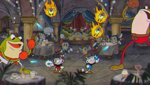 Cuphead and Mugman shooting at two giant frogs