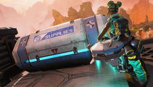 Apex Legends character Lifeline opening a Blue supply bin