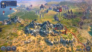 Humankind's in-game armies approaching a town