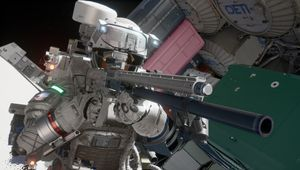 A well armed astronaut takes aim in Boundary.
