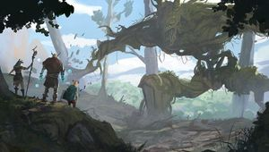 Picture of some adventurers facing a giant tree monster